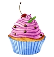 watercoor cupcake vector image