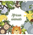 Round frame with African animals vector image