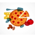 Pizza with its ingredients vector image vector image