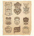 set of love vintage badges in sepia vector image