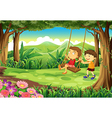 A girl and a boy playing at the jungle vector image vector image