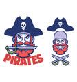 pirate head mascot vector image vector image