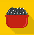 black caviar icon flat style vector image
