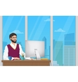 Business man entrepreneur working at his office vector image