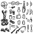 climbingcamping and exploration vintage icons set vector image