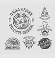 delicious original italian pizza house monochrome vector image