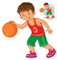 little boy playing basketball vector image