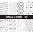 Set of seamless patterns in black and white vector image