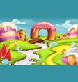 Sweet landscape 3d background vector image