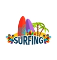 Surfing poster with palm trees vector image vector image