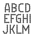 Bicycle chain alphabet vector image