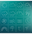 weather icons chalky dark blue green vector image
