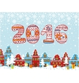 2016 year knitted figures Christmas city vector image