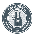 California vineyard emblem - stamp with wine vector image