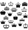 Black Crown Silhouette Collection vector image