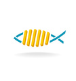 Fish and chips logo Fast food symbol with linear vector image