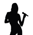 girl singing silhouette vector image
