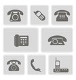 monochrome icons with telephone vector image