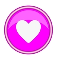 Round pink icon with a white heart vector image