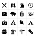 Black Camping tourism and travel icons vector image