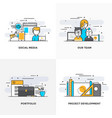 flat line designed concepts 4-colored vector image