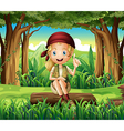 A forest with a young girl sitting above a log vector image vector image