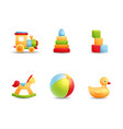 Baby first toys realistic icon collection vector image