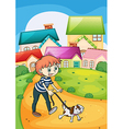 A boy strolling with his pet vector image vector image