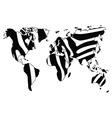 World map in animal print design zebra pattern vector image vector image