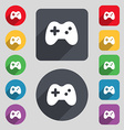 Joystick icon sign A set of 12 colored buttons and vector image