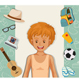 Hipster boy with other accessories vector image vector image