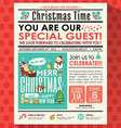 Christmas party poster invite in newspaper style vector image