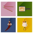 set flat icons with long shadow exotic food vector image