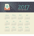 Calendar 2017 year with christmas letter vector image