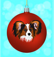 christmas ball with of the dog vector image
