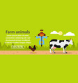 farm animals banner horizontal concept vector image
