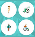 flat icon cripple set of handicapped man injured vector image