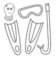 set of devices for diving mask flippers vector image