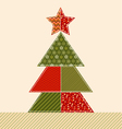 traditional ornament patchwork xmas tree cosy vector image