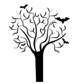 Tree branches with bats halloween theme vector image