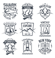 Vintage camping and sporting badges vector image