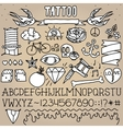 Old school tattoo objects pack vector image