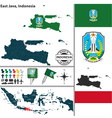 Map of East Java vector image