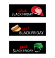 Hats and Helmet on Black Friday Sale Banners vector image
