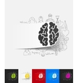 brain paper sticker with hand drawn elements vector image
