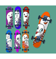 Collection of variegated skateboard with monsters vector image