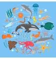 Concept Set of Cute Sea animals fish vector image