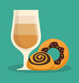 glass cup coffee donut bread vector image