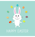 Happy Easter Cute bunny rabbit juggles egg Flat vector image