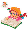 little girl is reading a book lying on her stomach vector image